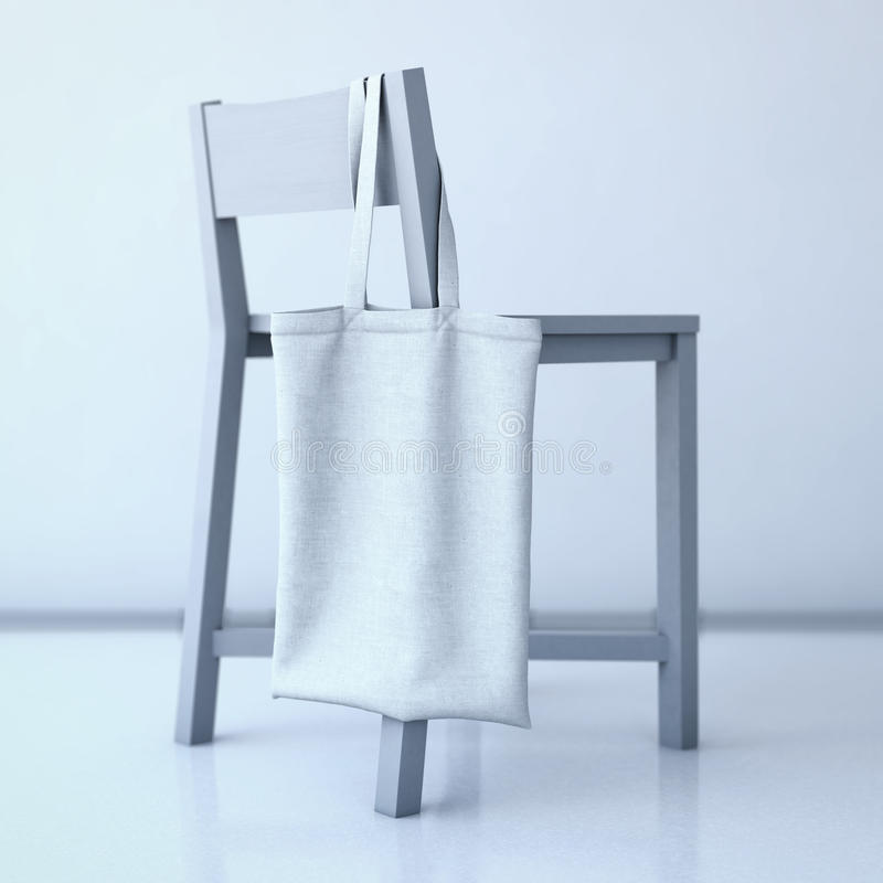 White cotton bag hanging on a chair. 3d rendering. White cotton bag hanging on the back of a chair. 3d rendering stock image