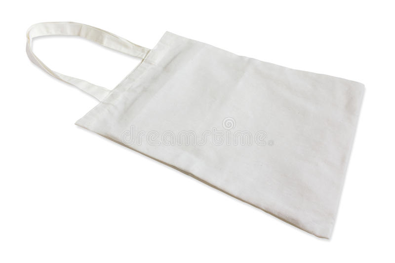 White cotton bag isolated on white. Background royalty free stock photo