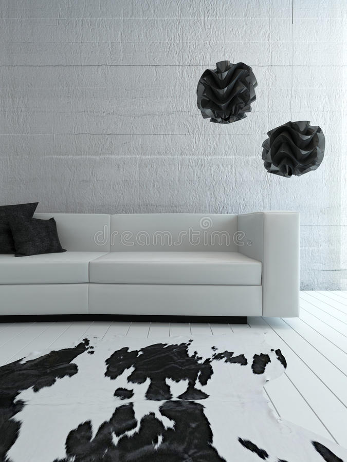 White Couch Standing In Front Of Concrete Wall Stock Photo