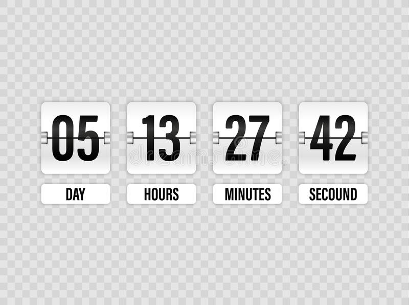 White Countdown timer with white numbers isolated on transparent background. Clock counter. Vector illustration template. stock illustration