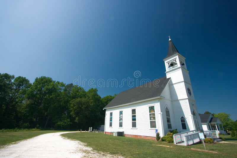 White country church stock photography