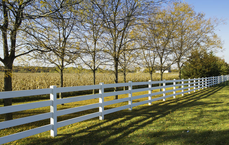 White country fence stock photo