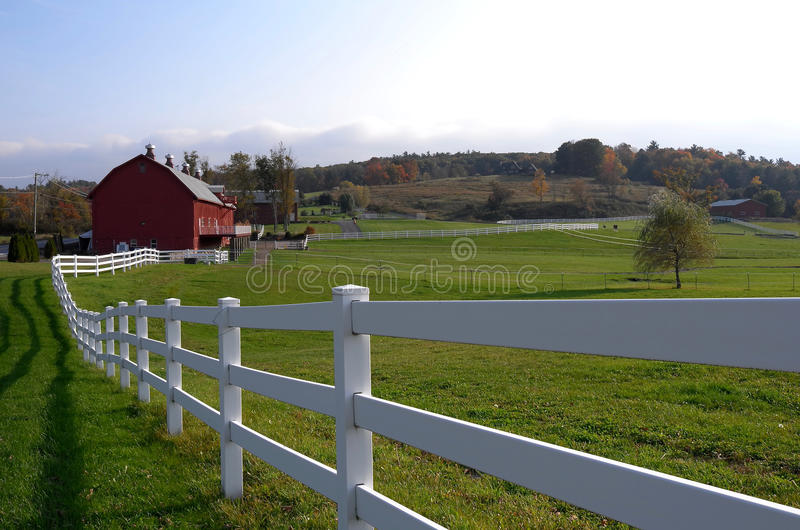 White Country Fence and Stable royalty free stock photos