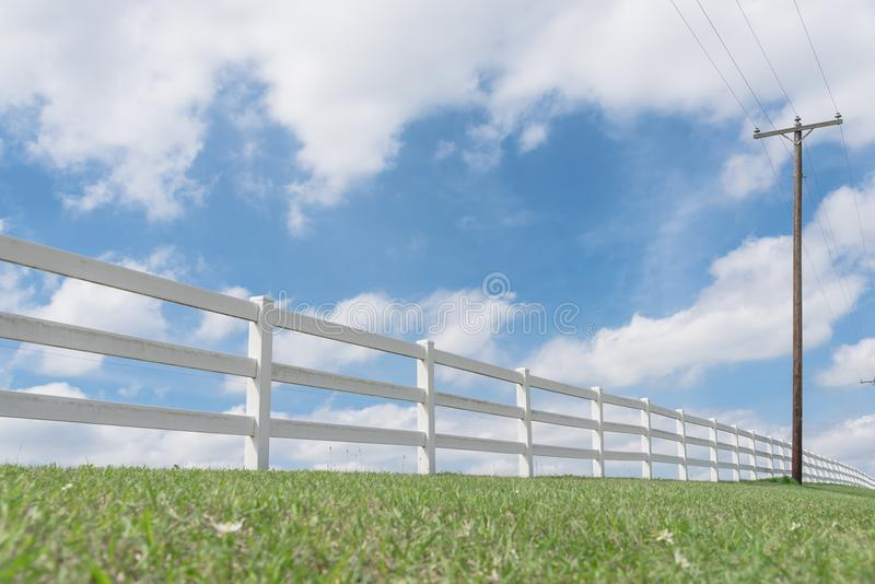 Country style wooden fence against cloud blue sky. White country style wooden fence and power pole against cloud blue sky. White fences on green grass at farm stock image