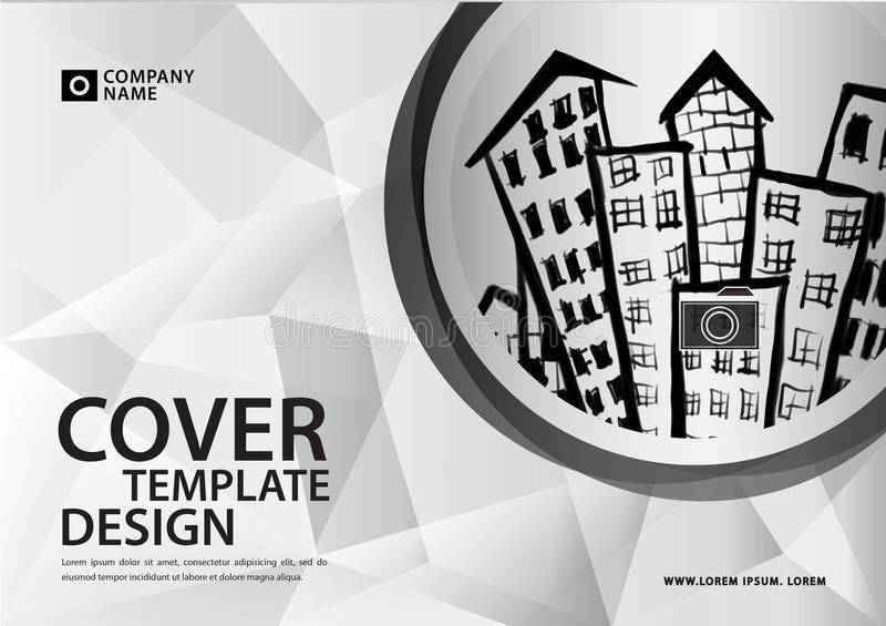 White cover template for business industry, Real Estate, building, home, Machinery. Horizontal layout, brochure flyer, annual rep. Ort, book, advertisement vector illustration