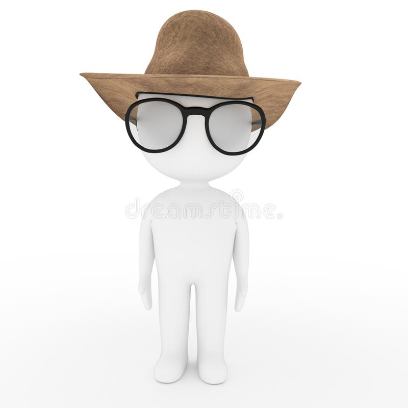 White cowboy man with glasses and hat on white isolated in 3D rendering stock illustration