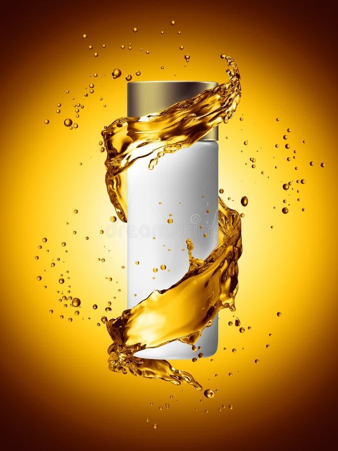 White cream bottle mock up of water splash golden color. 3D illustration stock illustration