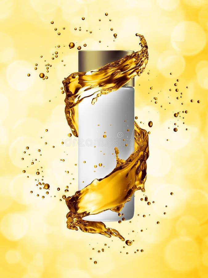 White cream bottle mock up of water splash golden color. 3D illustration royalty free illustration