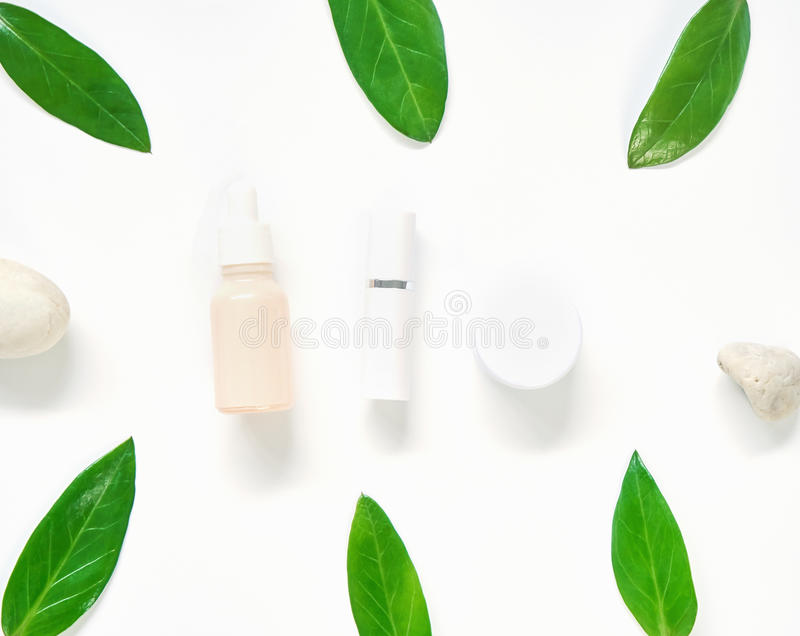 White cream bottle placed, Blank label package for mock up on a green foliage background and flowers. The concept of natural beaut. Y products stock photography