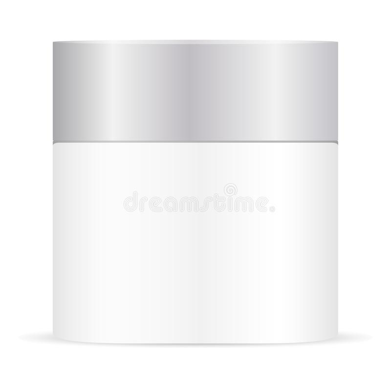 White cream jar mockup. Beauty cosmetic container royalty free illustration