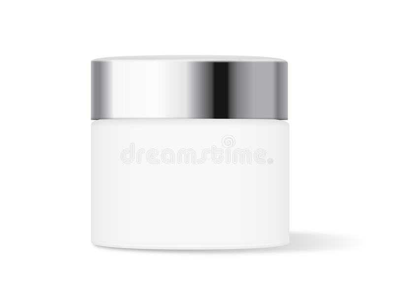 White cream jar with silver lid royalty free illustration