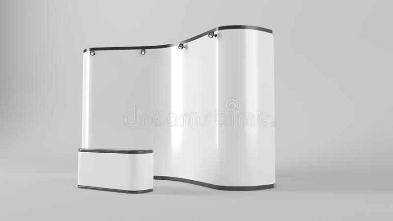 White creative exhibition stand design. Booth template. Corporate identity 3d rendering. Object stock illustration