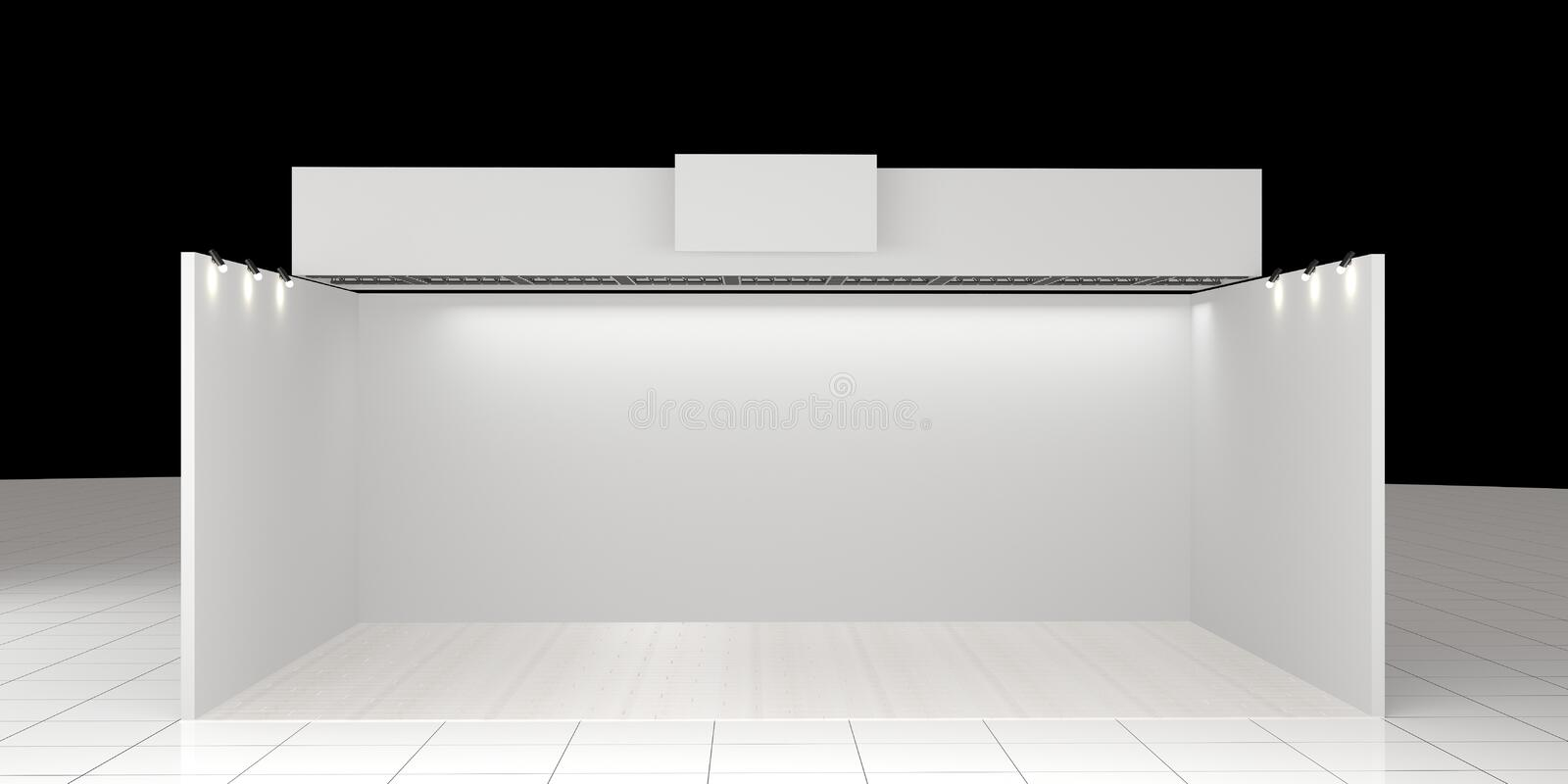 White creative exhibition stand design. Booth template. Corporate stock images