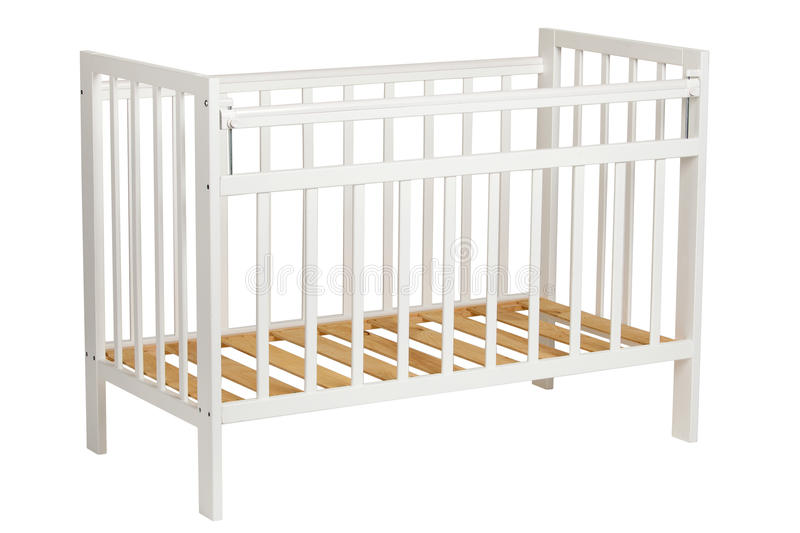 White crib for kids without mattress royalty free stock images