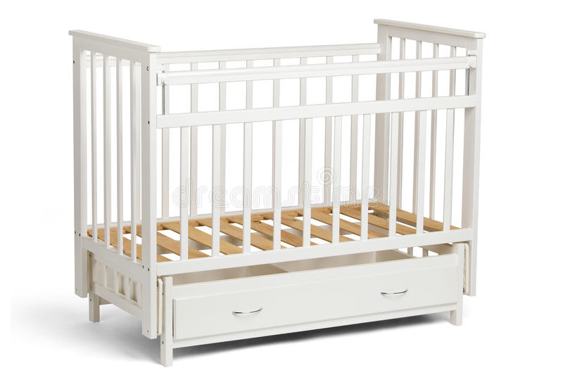 White crib for kids without mattress royalty free stock image