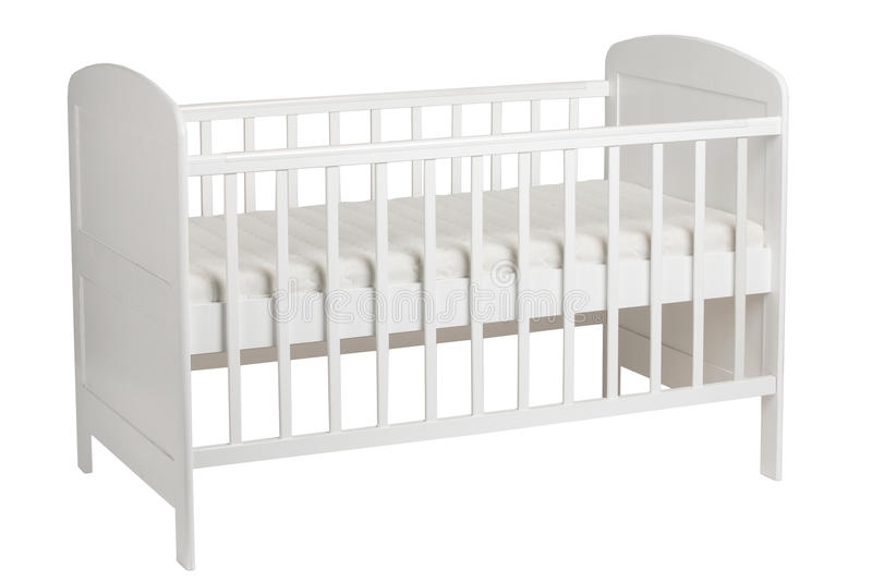 White crib for kids on white background. Furniture. White crib for kids on white background stock photo