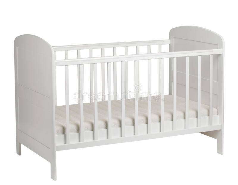 White crib for kids on white background royalty free stock images