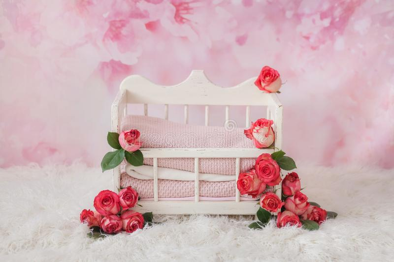 A white crib for a newborn baby adorned with pink rosebuds stands on a floral pink background. And a white carpet royalty free stock image
