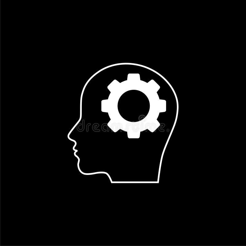 Critical Thinking icon or logo on dark background. White Critical Thinking icon or logo on dark background stock illustration