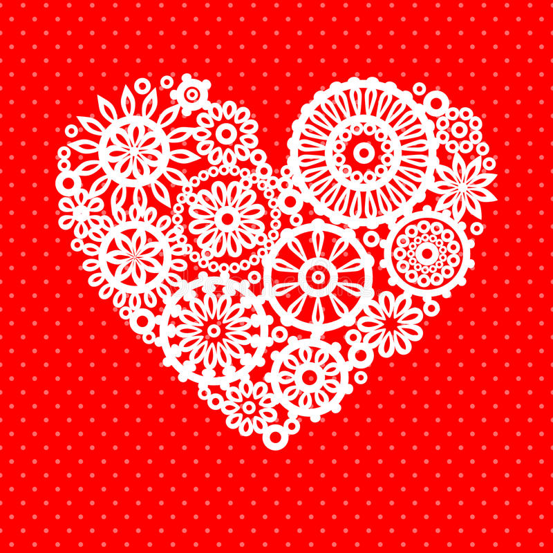 White crochet lace flower heart on red romantic greeting card, vector background stock illustration