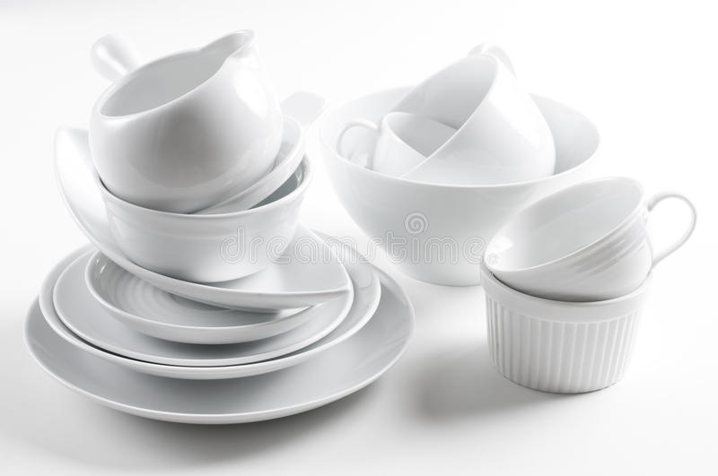 Download White Crockery And Kitchen Utensils Stock Image - Image: 22973053
