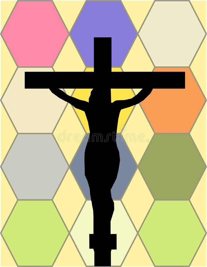 Download White Cross On The Color Wall Of The Temple Stock Illustration - Image: 28537854