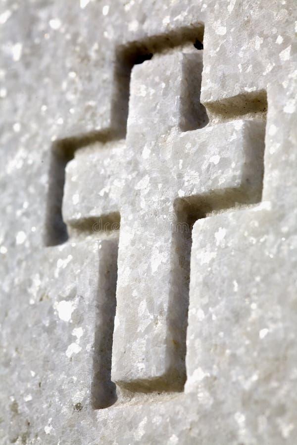 White Cross On Headstone Stock Photos