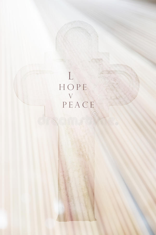 White Cross and Hope Funeral Card stock photo