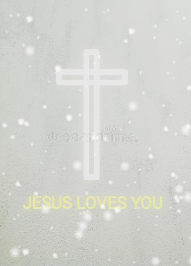 A white cross and text Jesus loves you. Dav, concrete, wall, faith, christ, god, believe, christian, christianity stock photo