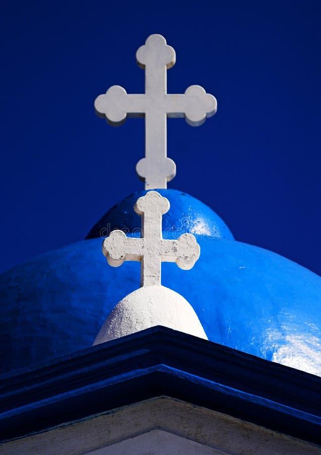 White crosse on santorini greece church royalty free stock photography