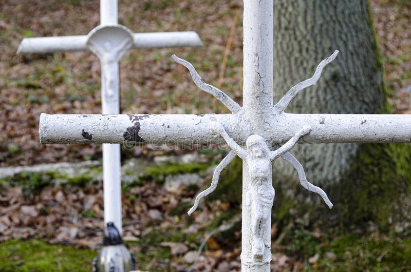 White crosses on cemetery royalty free stock image