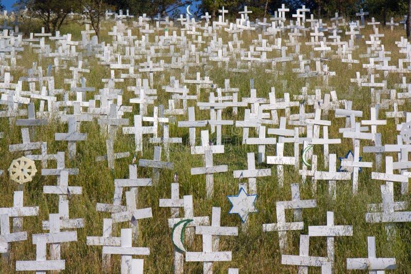 White crosses on a hillside. White crosses of the hillside memorial in Lafayette, California royalty free stock photo