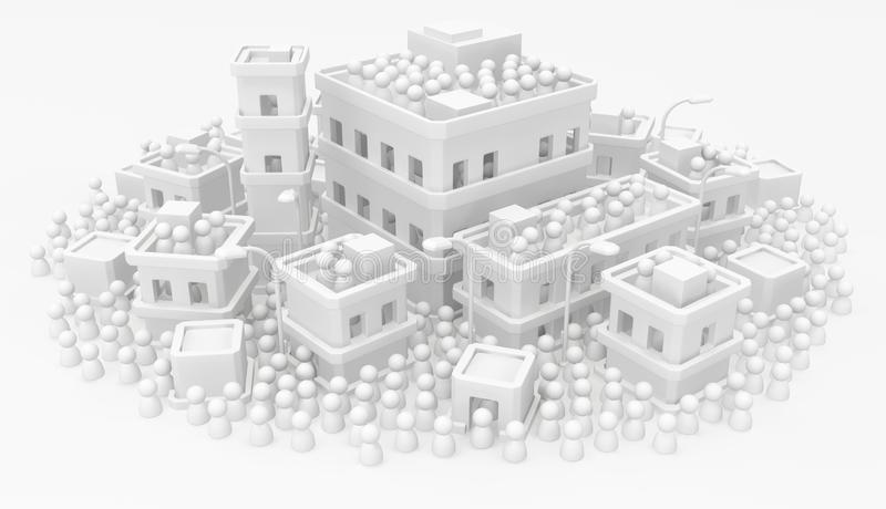 White Crowd Buildings Town Dense. Crowd of small symbolic figures, white buildings town, 3d illustration royalty free illustration