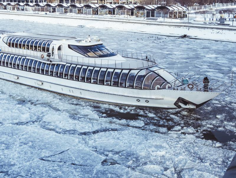 White Cruise Ship on icy Water stock photos