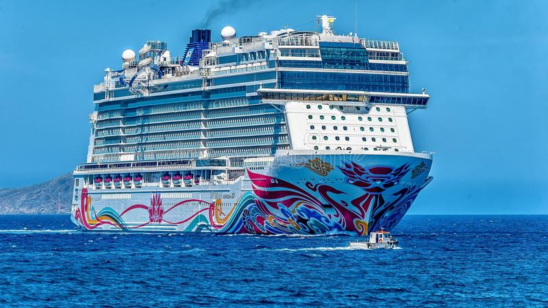 White Cruise Ship on the Sea royalty free stock image