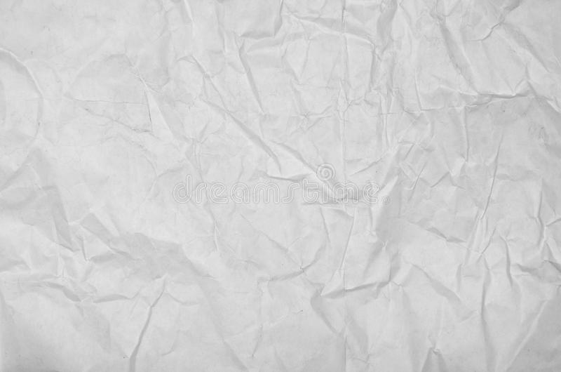 White crumpled paper blank background surface. Pastels book cover paint top view; Gray grunge surface empty parchment sheet. Art stock photo