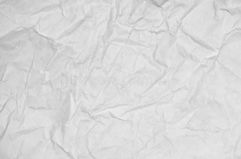 White crumpled paper blank background surface. Pastels book cover paint top view Gray grunge surface empty parchment sheet. Art. Poster above folds angle craft stock photography