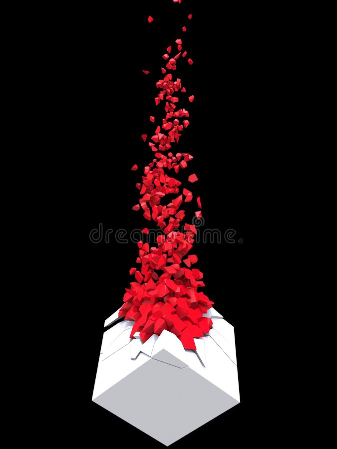 White cube disintegrating into many small red pieces stock illustration