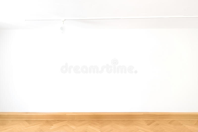 White cube empty blank wall art gallery room wood floor parquet interior design stock photo