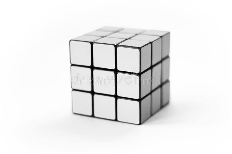 White cube puzzle game. Blank cube puzzle game similar to a Rubiks cube stock images
