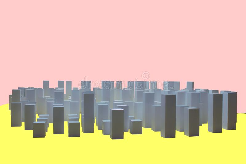 White cubes are built as buildings of a business city, isolated  background, concept of a business city. White cubes are built as buildings of a business city stock photos
