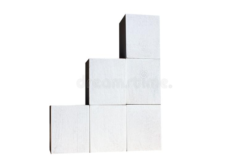 White cubes are built as statistics business graphics. Graph and graph, web data report and presentation, isolated white. Wooden crutches. Medical assistance and stock photos
