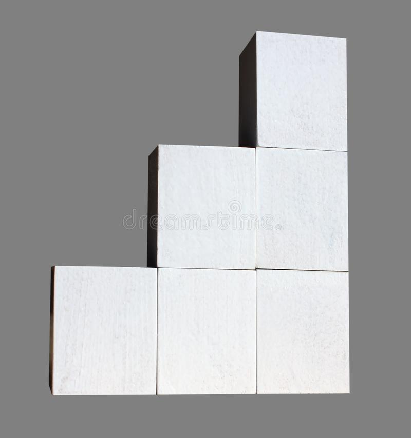 White cubes are built as statistics business graphics. Graph and graph, web data report and presentation, isolated gray background royalty free stock images