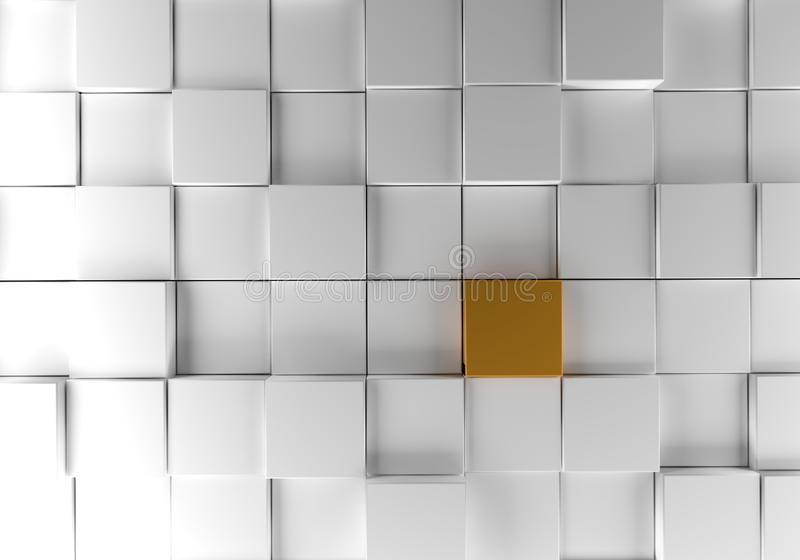 White cubes with a golden one background vector illustration