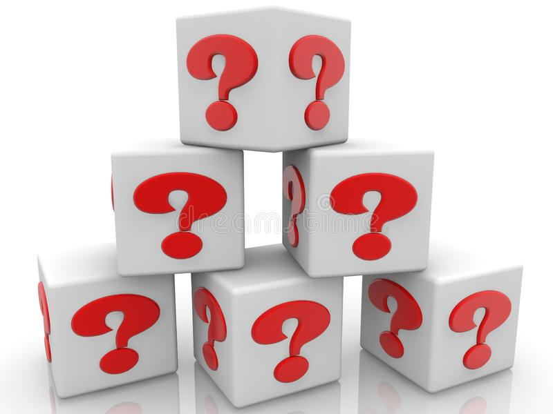 White cubes piled into the pyramid with question mark concept. In background stock illustration