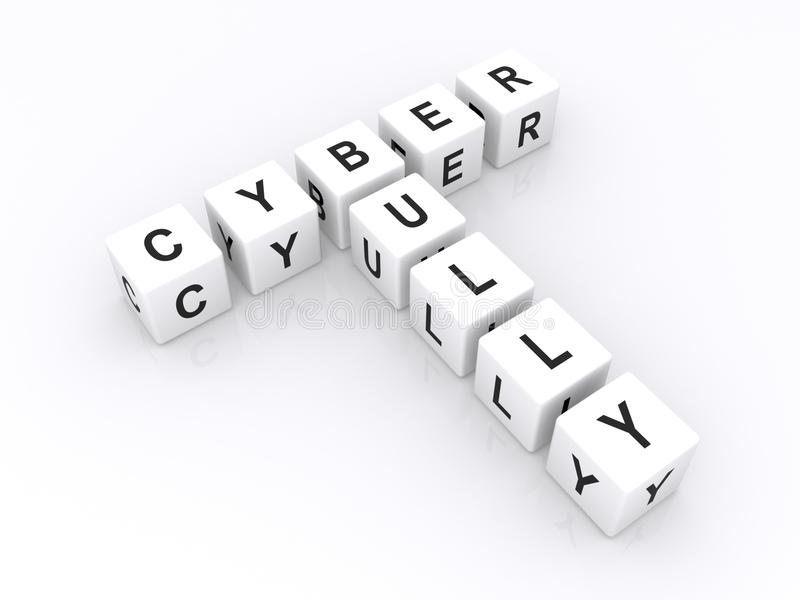 White Cubes Spell Cyber Bully Stock Image
