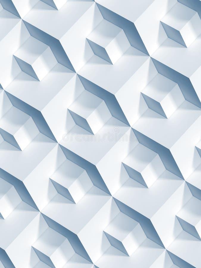 White cubes vertical background, 3d render. Abstract geometric pattern, white cubes vertical background, 3d render illustration stock photography