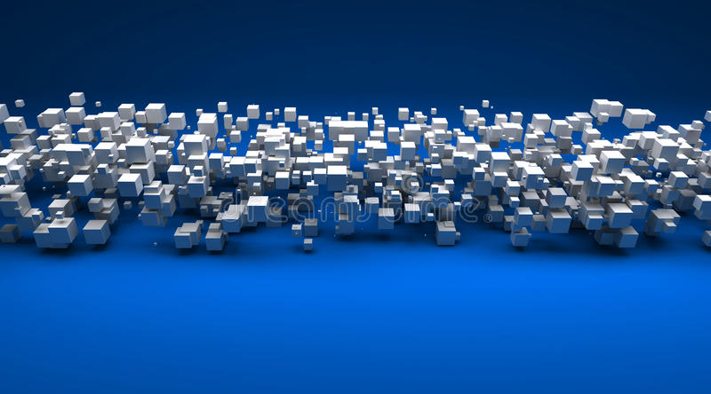 White cubic particles against a blue background stock illustration