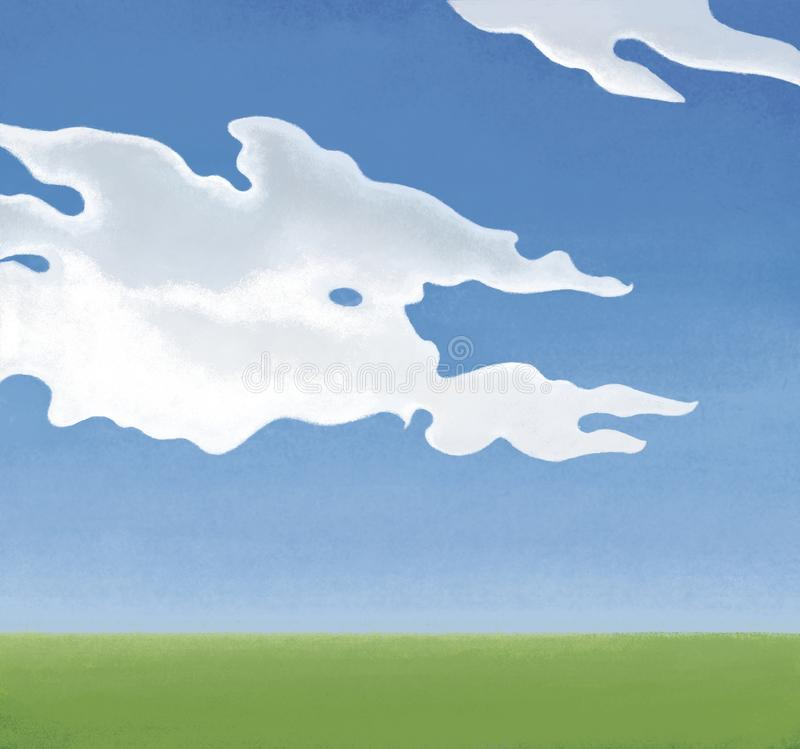 White cumulus clouds in a blue sky over a green field. Background image royalty free illustration