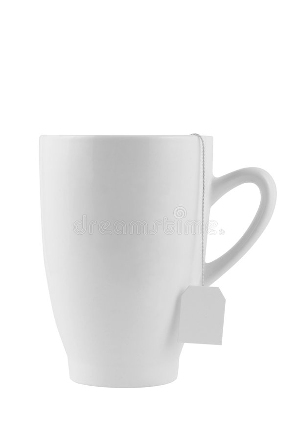 White cup. With tea-bag string and blank label. Contains clipping path. Isolated on white background royalty free stock images